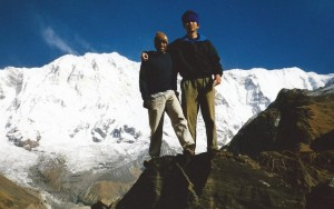 Gautam and Ky hiking in the Himalayas
