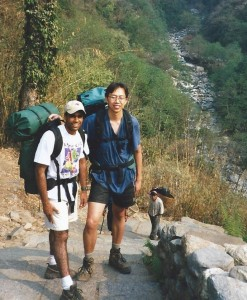 Ky and Gautam hiking the Inca Trail