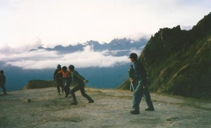 Playing soccer in the ruins on the Inca Trail